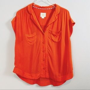 Anthropologie | Maeve Orange Button Up Blouse